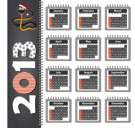 Calendar on 2013 with the image of snake Vector