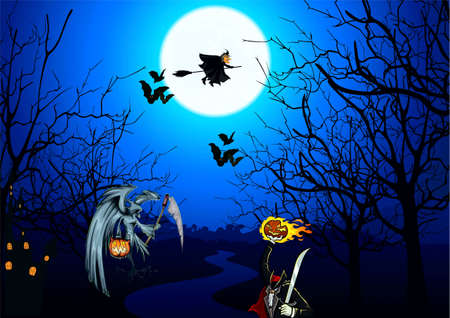 drenched: Moon, bats, witch on a broom, death with a scythe, zombi with a conflagrant pumpkin, became drenched with the lighted up windows Illustration