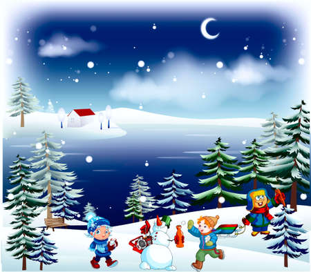 The winter, child's funs, sledges, snow man, children, fir-trees,  bench, Lunar, river Stock Vector - 15772125