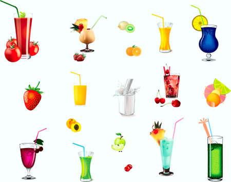 Cocktails, fruit, mixer