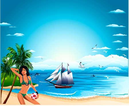 flying boat: Mar, vela, barco, cielo, palmeras, gaviotas, Delfins, salvo