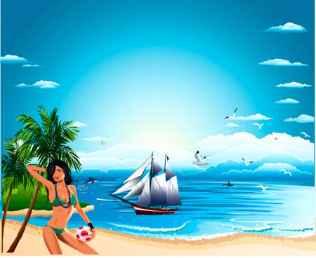 Sea, sailing-vessel, sky, palms, gulls of,delfins, saved   Stock Vector - 15772123