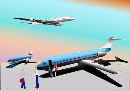 mid air: Aviones en el campo, azafata, piloto, avi�n en pleno aire