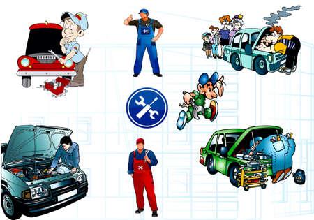 onderhoud auto: Reparatie van de motor van de auto, machines, slotenmakers, karikatuur Stock Illustratie