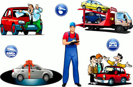 Sale of cars, salespeople, buyers, icons, cars Stock Vector - 17164101