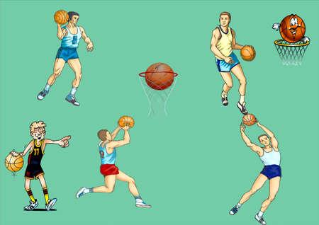 Basket-ball, players, basket, ball Stock Vector - 17163970