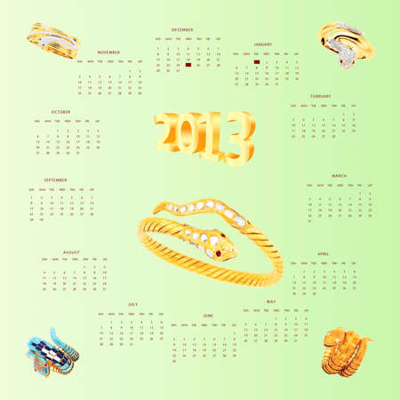 Calendar with snakes as precious bangles Stock Vector - 17164126