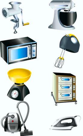 meat grinder, blender, Libra, iron, vacuum cleaner, microwave, oven,