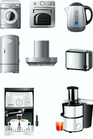 refrigerator, extraction, toaster, coffee-pot, lemon-squeezer