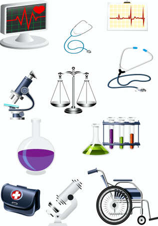 microscope, arm-chair, retort, test tubes, stand, bag, scales,  stethoscope, chart,  Stock Vector - 17163891