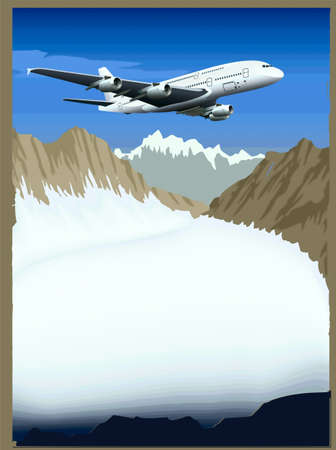boeing: An airplane  flying overweather Illustration