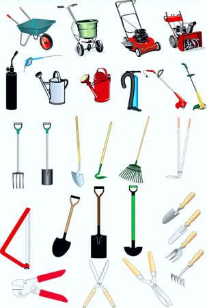 instrument, garden, vegetable garden, wheelbarrow, mower, watering-can,  shovel, secateur, rakes, drank, sprinkler ,hoe,grass cutter , Illustration