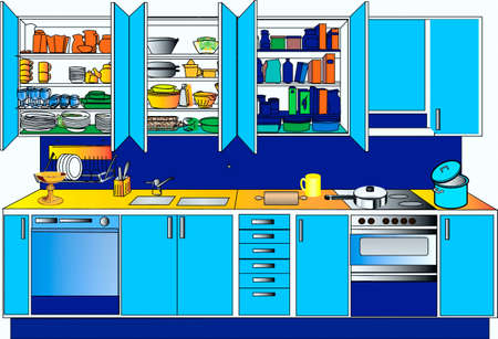Kitchen set of blue color Stock Vector - 17164134