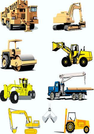 grader: truck crane, a skating rink is road, power-shovel, grader, kar, pipelayer Illustration