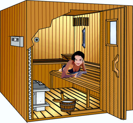 Woman, in a sauna Stock Vector - 17163962