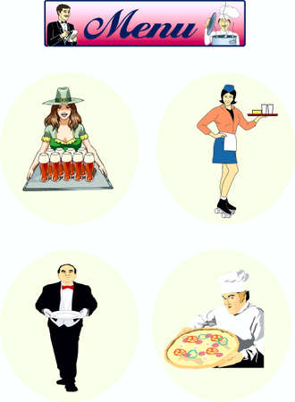 caterer: waiters with drinks and cook Illustration