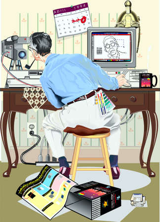 Man, working at the computer and movie camera Illustration