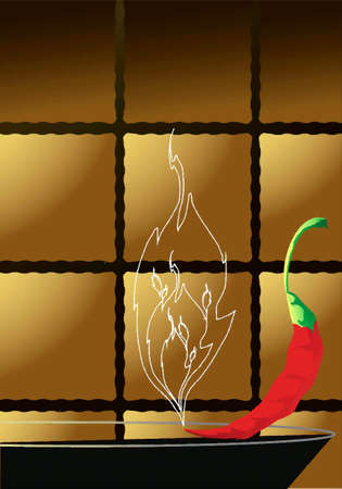 The background of the brown tiles, tile and the red peppers Stock Vector - 17164122
