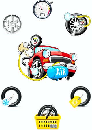 manometer: Pumping of air in a wheel,disk,car, hose, manometer Illustration
