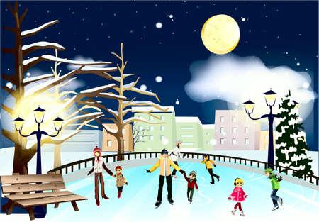 skating rink: Evening, Lunar, lanterns, bench, skating rink, city, people Illustration
