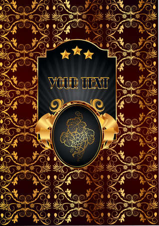 Banner, on a claret background gold pattern  in the middle a banner is black with gold, with the image of vine, stars and text Stock Vector - 17164151