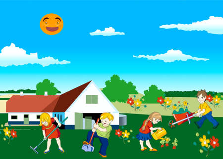 Children, work, vegetable garden, rakes, shovel, watering-can, landing, flowers, pouring, carrot  Vector
