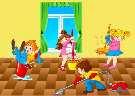 cleaning up: Children, house, room, half, cleaning up, window, bucket, water, vacuum cleaner, mop