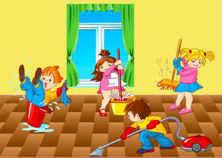 seau d eau: Les enfants, maison, salle, la moiti�, le nettoyage, fen�tre, seau, aspirateur � eau,, vadrouille