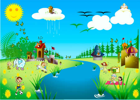 drenched: Children, fairy-tale, became drenched, cloud, toys, river, glade, flowers, birds, butterflies