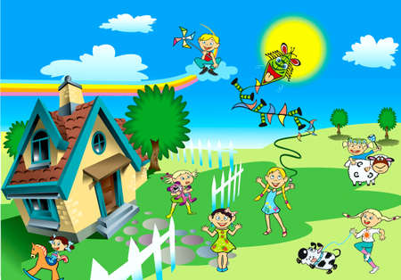 Children, house, toys, rainbow, air serpent, dog, cow, tree Vector