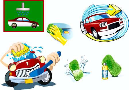 vieze handen: het wassen van auto, auto, handschoen, spons, water, flesje, karakter Stock Illustratie