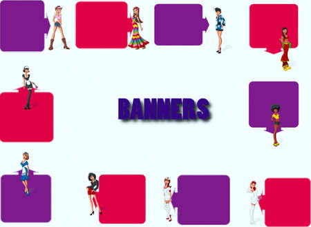 Baner with the girls of different colors Stock Vector - 17164147