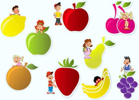Baner with girls and boys, fruit : lemon, apple, cherry, pear,  apricot, strawberry, banana, vine Stock Vector - 17164142