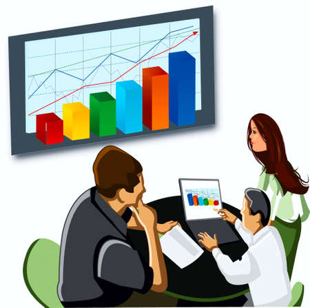 Conference, managers, computer, table, arm-chairs, chart,  stand Stock Vector - 17164144