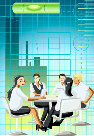 background, conference, people, table, arm-chairs, computer Stock Vector - 17164139