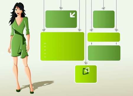 Girl and banners of green color Stock Vector - 17164140