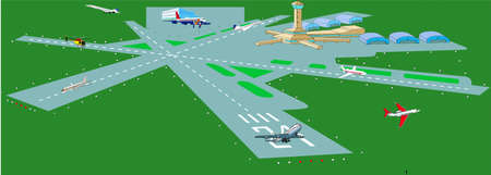 Flying field, flight stripe, airplanes, helicopter, hangarages, controllers point, building of air-port