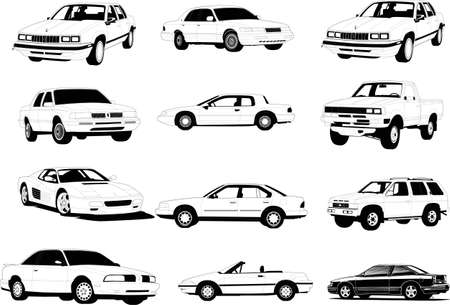 Vectorial silhouettes of different cars Vector