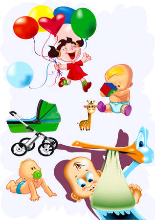 Babies, children, carriage, stork, air marbles, toy, Vector
