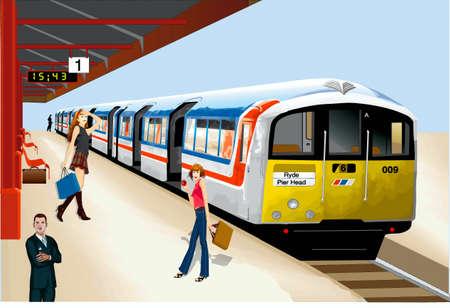 estación del metro: La estaci�n de metro, tren, los pasajeros