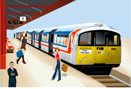 Tube station, train, passengers Stock Vector - 17164173