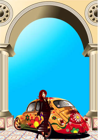 Age-old car, woman, arch, columns Stock Vector - 17220857