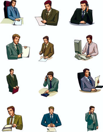 Man, the paper, phone, paper,the folder, your computer, the manager Illustration
