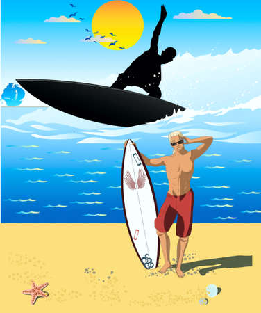 Surfboard, the sun, a vector, the horizon, clouds, birds, silhouette, a man, plain sailing on the horizon,sea, beach, sand Vector