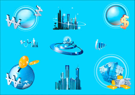 Cities,  technologies, characters Stock Vector - 17220864