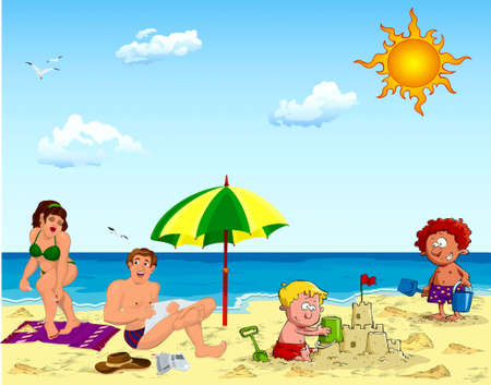 became: Family, father, mother, children, boy, sea, beach, umbrella, sand, game, sunburn, rest, sky, sun, clouds, birds, towel, newspaper, hat, became drenched from sand