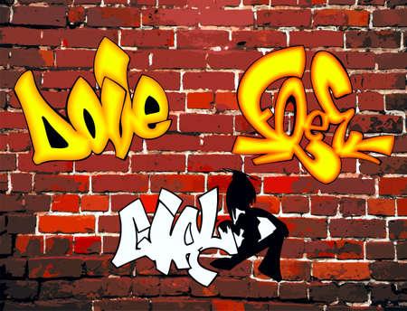 Brick wall, artistic inscriptions, grafi Illustration