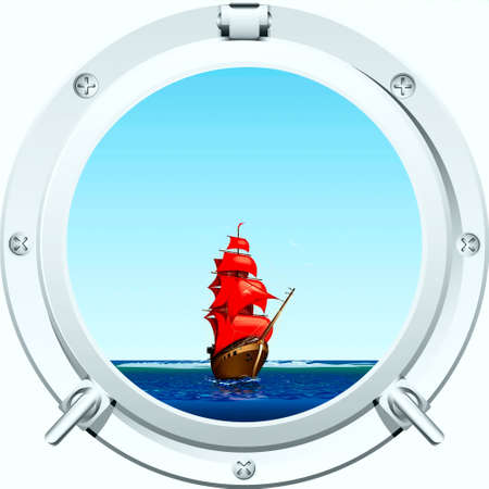 Kind from a porthole at the seaside and clipper and gulls on horizon  Stock Vector - 17220863