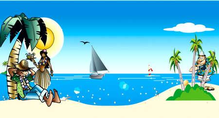 Sea, coast, yacht, sun, palm, cloud, photographer, woman Stock Vector - 17220860