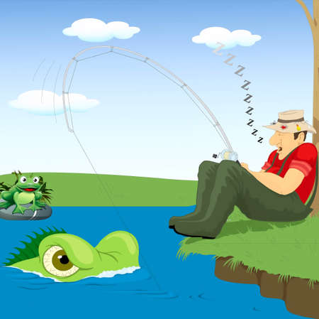 Asleep fisherman and snail with a toad Stock Vector - 17220853